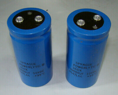 2 New Sprague 36dx Series 39000uf 10v Large Can Screw Terminal Capacitor 39k Mfd