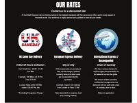 Courier available, same day collection and delivery. Fixed rate. National coverage.