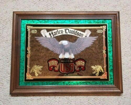 Vintage Beeco Mfg Harley Davidson Advertising Framed Eagle Made USA Sign Mirror
