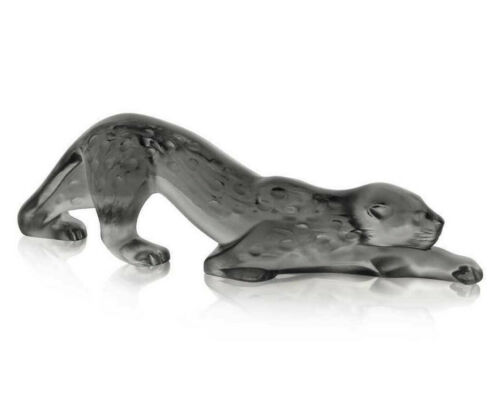 LALIQUE CRYSTAL SMALL ZEILA GREY PANTHER SCULPTURE #10491800 BRAND NIB SAVE$ F/S