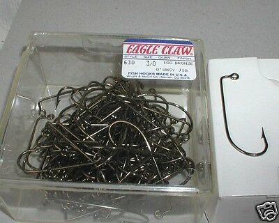 100 #2 Eagle Claw 630 Bronze O/'Shaughnessy Jig Hooks for Jig Molds