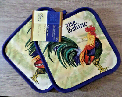 Rooster Pot - Home Collection Rooster Themed Pot Holders, Set of 2, 7x7 inches