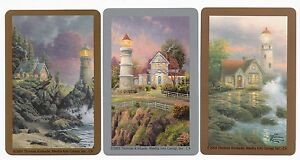 Swap Cards ~ COTTAGE AND LIGHTHOUSE SCENES ~ Set of 3 ~ Artist THOMAS KINKADE