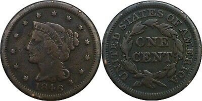 1846 1C Braided Hair Large Cent Small Date Good