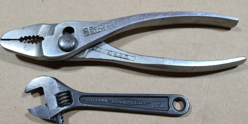 "Diamond N16 6"" slip joint thin nose pliers & 4"" Diamalloy Adjustable Wrench"