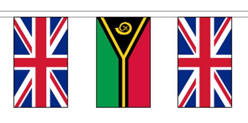 Vanuatu & United Kingdom UK Polyester Flag Bunting - 20m with 56 Flags