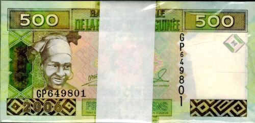 2006 Guinea 500 Francs Uncirculated Bundle 100 Notes