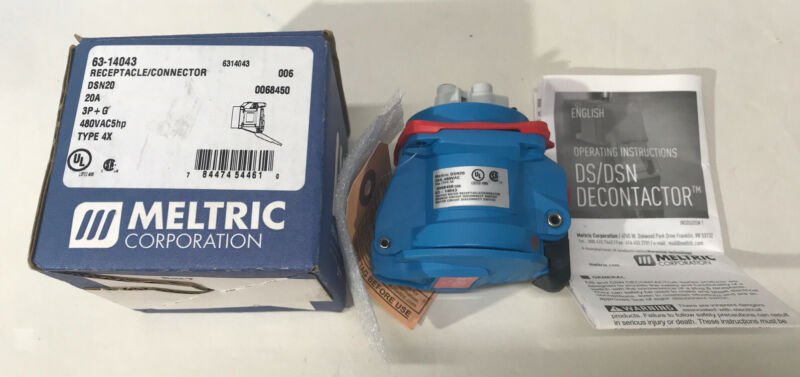 Meltric 63-14076-843-NC DSN20 Receptacle // Connector 250 VAC 20 A New in Box