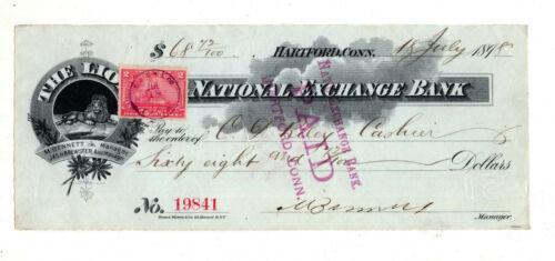 US revenue stamp paper bank check SC#R164 The Lion Connecticut 1898 ID#S907