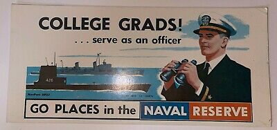 Vintage 1956 US Naval Reserve Recruiting card, Go Places in the Naval Reserve
