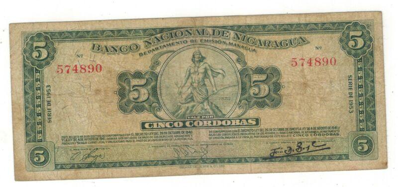 Nicaragua , 5 cordobas 1953, F/VF. Rare.