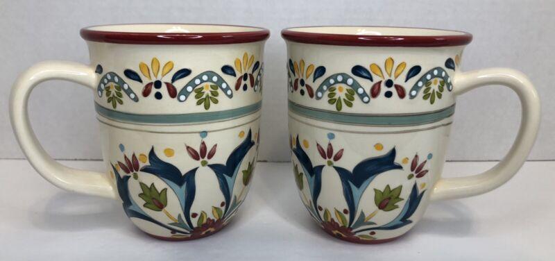 Bobby Flay Home Sevilla Red Coffee Mugs Floral 14 oz Mugs Set of 2