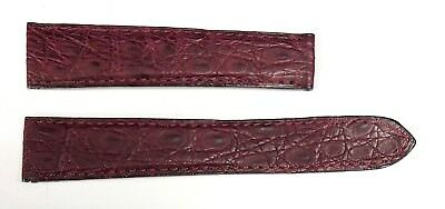 Authentic Cartier Burgundy Alligator Leather 19MM x 16MM Watch Bands 3AYEAJ39
