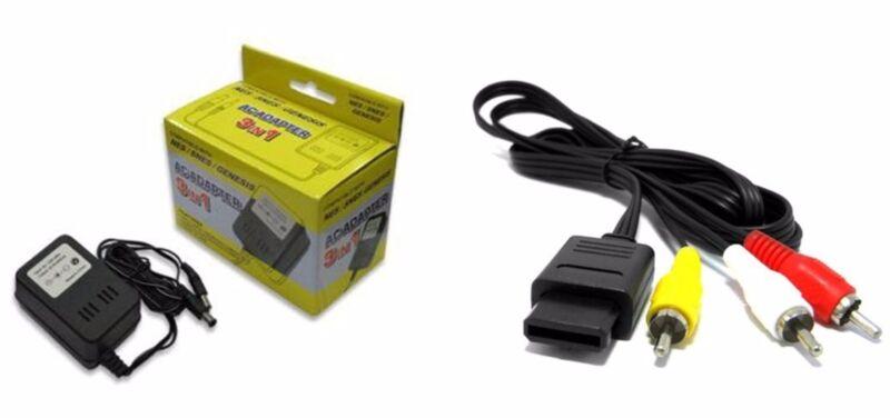 NEW POWER CORD AC ADAPTER FOR SUPER NINTENDO +SUPER NINTENDO AV CABLE BUNDLE