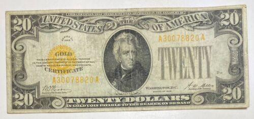 1928 Small $20 Gold Certificate Currency Note Serial #30078820