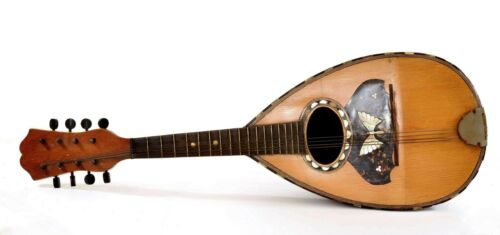 Vintage Bowl Back Mandolin Lute Mother of Pearl Inlay Music String Instrument