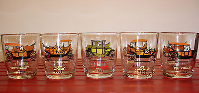 Vintage Classic Cars Rock Tumblers, Five Glasses, Great (Great Classic Cars)