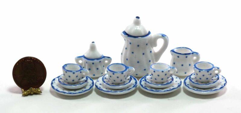 Dollhouse Miniature 1:12 Scale Swiss Dot Tea Set in White & Blue Dots