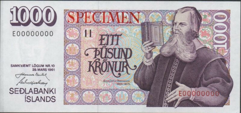 Iceland 1000 kronur ND. 1984 P 52s Specimen Rare