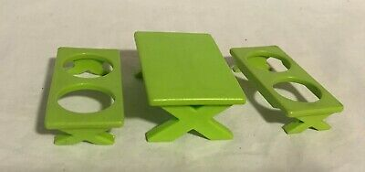 Vintage Fisher Price Little People 992/916 GREEN PICNIC TABLE & 2 BENCHES
