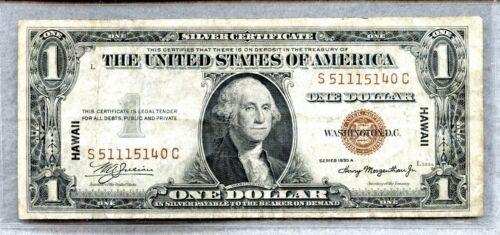 1935 A ~ $1 HAWAII SILVER CERTIFICATE NOTE ~ VF