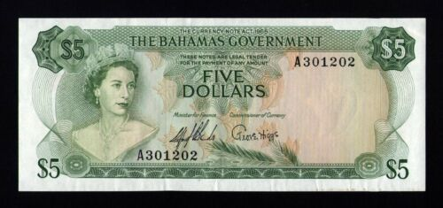 Bahamas, 5 Dollars 1965 (Green), P-20a, XF