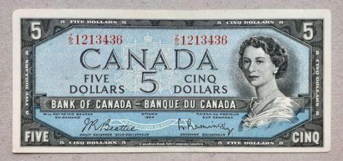 1954 Bank of Canada $5 Dollars *Beattie-Rasminsky* Z/S 1213436 BC-39b