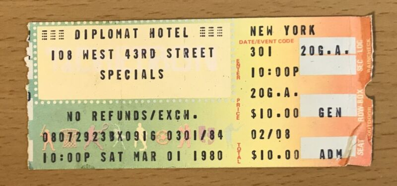 1980 THE SPECIALS NEW YORK CONCERT TICKET STUB TOO MUCH TOO YOUNG A.K.A. 2267