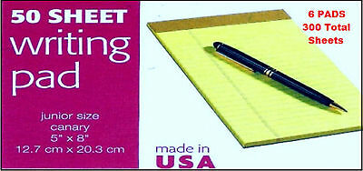 6 Pk Jr Size 5 X 8 Yellow Legal Note Pads Lined 300 Sheets Tops 75019 Usa Pad