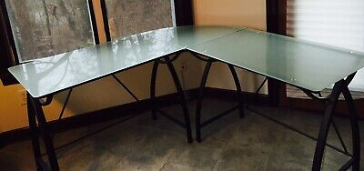 Modern Frosted Glass Top Black Modern Aluminum Desk.