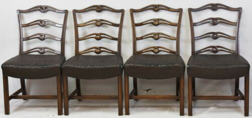 Set of 4 KITTINGER Mahogany Chippendale Ribbon Back Dining Chairs