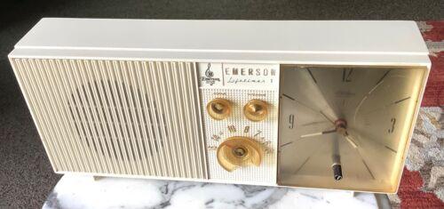 Vintage Emerson White Rigid Plastic Clock Radio Combo Model Lifetimer 1 PARTS!