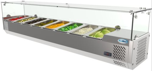"""Countertop Condiment Refrigerated Prep Station with Glass Sneeze Guard 71"""" 8 Pan"""