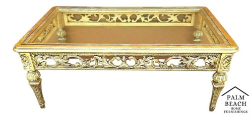 Wonderful Ornate Gilt Gold & Silver Carved Wood and Glass Italian Coffee Table