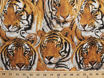 Tigers Faces Packed Animal Mammal Cat Cotton Fabric Print by the Yard D582.40 (Animal Faces)