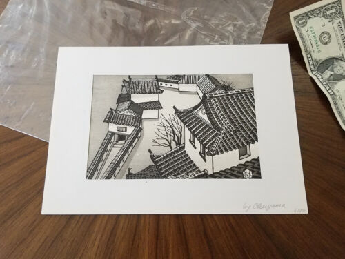 GIHACHIRO OKUYAMA Original Signed Japanese Woodblock Print-Samurai Castle-LISTED