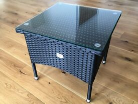 Table outdoor rattan side coffee tea table with glass plate