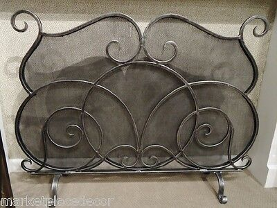 Old World Pewter Finish (Scrolled Mesh Old World Tuscan Fireplace Fire Screen Antique Pewter Finish 46