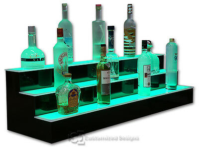 46 3 Step Tier Led Lighted Shelves Illuminated Liquor Bottle Display Free Ship