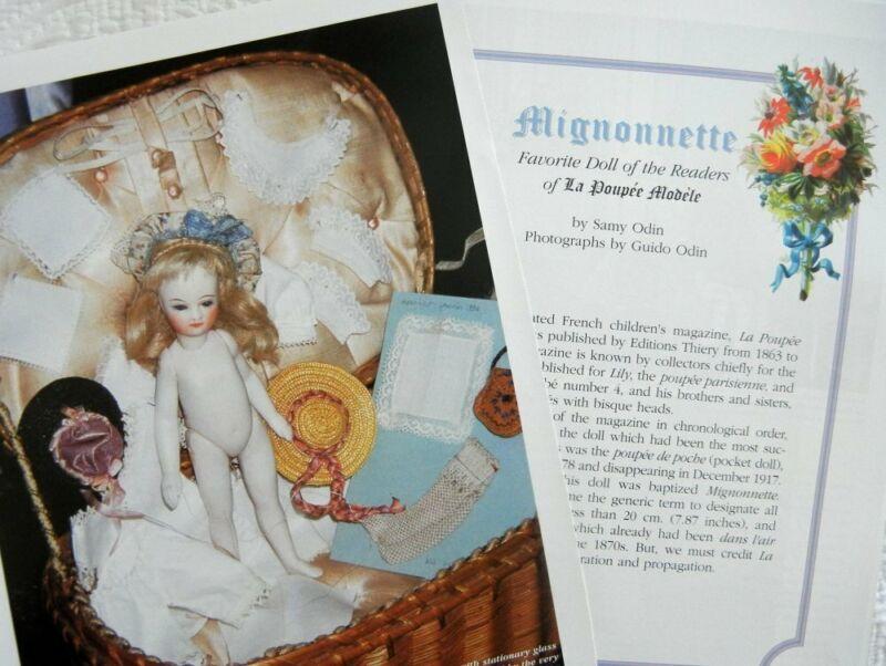 8p History Article + Color Pics - Antique Mignonnette French Pocket Dolls