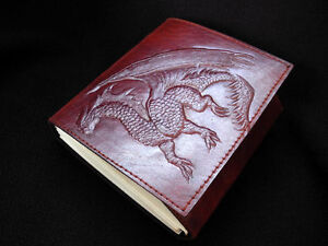 MAGIC DRAGON - Handmade Leather Notebook Journal Diary -Pages of Cartridge Paper