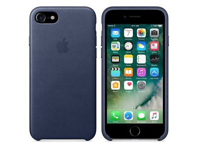 Original Apple iPhone 7 / 8 Leder Schutzhülle Case Mitternachtsblau Schwarz-Blau Schwarz Leder Iphone