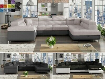 Ecksofa mit Schlaffunktion in U-Form XXL Wohnlandschaft LENNY Polsterecke Couch online kaufen