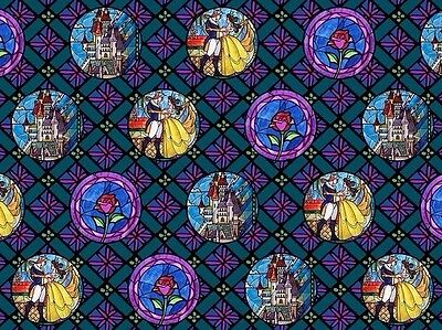 FAT QUARTER DISNEY BEAUTY BEAST STAINED GLASS BELLE BADGES 100% COTTON FABRIC FQ