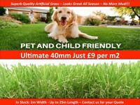 Artificial Grass - 40mm Pile Fake Grass £9 per m2 - brand new in 2m width up to 25m length