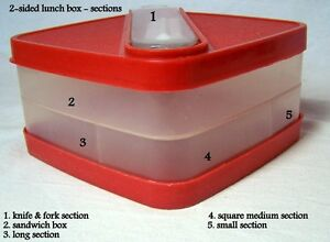 Lunch Box, plastic, top area+ 3 section bottom+fork & spoon