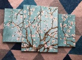Large Duck Egg Blue Blossoming Tree Canvas.