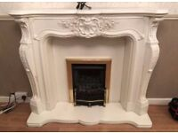 ITALIAN MARBLE FIRE SURROUND, BASE & HEARTH
