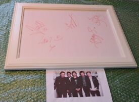 One Direction autographs. (original 5 members) Framed (with letter confirming authenticity)