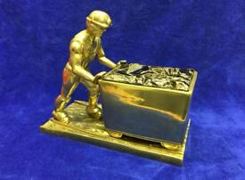Vintage solid brass Minor and coal truck
